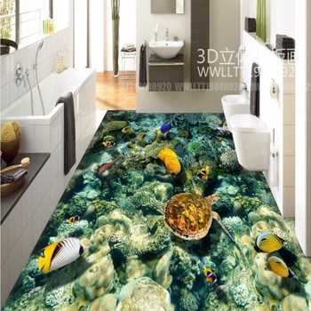 Underwater World Coral Sea Turtle Tropical Fish 3D Floor Tiles waterproof bathroom living room flooring mural