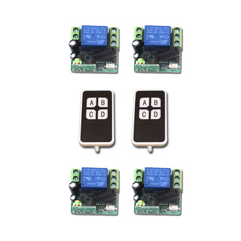 New DC12V Mini RF Wireless Remote Control Switch 2pcsTransmitter 1CH Relay Switches with 4pcs Receiver with 4Buttons 315/433MHZ