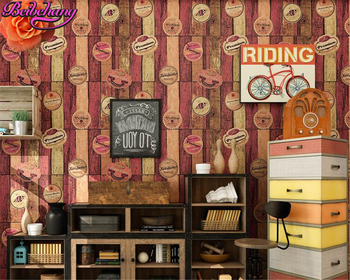 Beibehang American Wooden 3d Wallpapers Retro Wooden Cafe Wallpaper Walls Nostalgic Letters Bar papel de parede papier peint