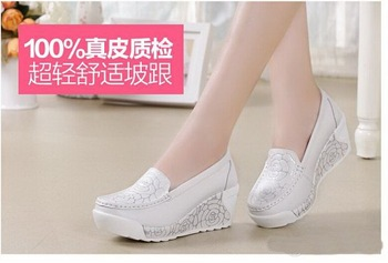 Spring Nurse shoes women flats Swing female shoes spring summer white wedges genuine leather flat women platform plus size shoes