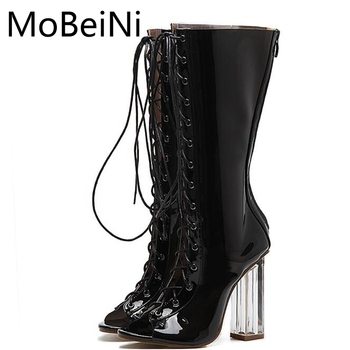 MoBeiNi Black PVC Shoes Women Pumps Summer Roman Cool Boots Fashion High Heels Sexy Open Toe Transparent Crystal Heel Sandals