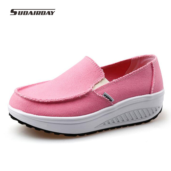 2016 Women Spring/Summer 6 Colors Canvas Flat Platform Casual Shoes Womens Walking Shoes Woman Solid Swing Weight Loss Shoes