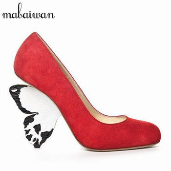 Designer Butterfly Heel Women Pumps Fashion Red Suede High Heels Beauty Prom Wedding Dress Shoes Woman Valentine Shoes