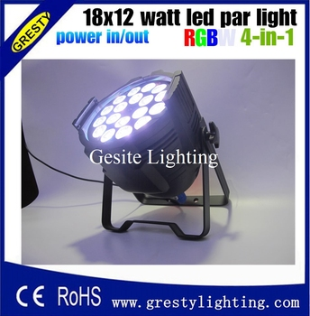 2pcs /lot RGBW 4in1 18X12W LED PAR full color disco lights, DMX512 par led professional dj equipment dye with power in power out