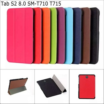 Business 3 folded Flip book Leather stand holder case smart cover for Samsung Galaxy Tab S2 8.0 SM-T710 T715 with stylus pen