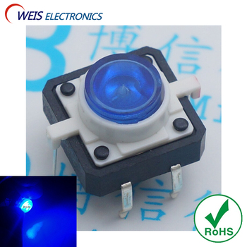 10PCS 12x12x7.3mm Push button switch with blue light led 12*12*7.3mm tact switches DIP 6PIN copper feet ROHS D.
