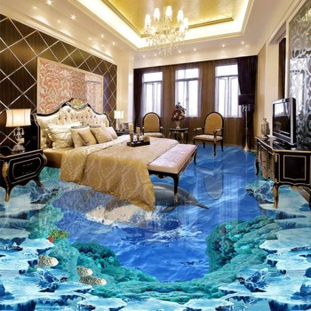 Custom Dolphin Ocean 3D Floor living room bathroom home decoration self-adhesive thickened wallpaper floor roll