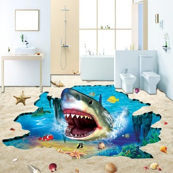 Underwater World Big Shark Submarine floor wallpaper living room square kitchen self-adhesive floor mural