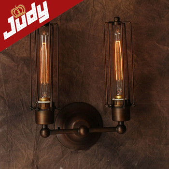 Judy Lighting- 2 Heads vintage wall lamp loft style size:H 300mm Retro light use 40-60W edison bulb 110-240v E27 head