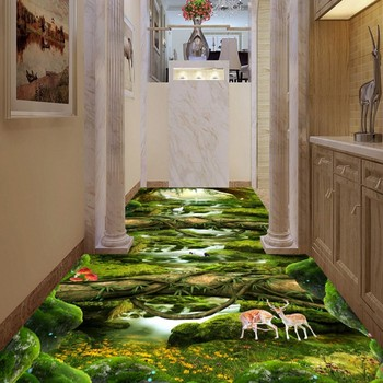 Restaurant kitchen flooring painting Fantasy Forest Creek self-adhesive PVC floor wallpaper mural