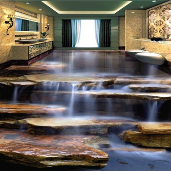 Non-slip floor mural Flowing Water Healthy Stone Waterfall Living Room Bathroom 3D Floor wallpaper