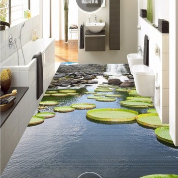 Waterfall lotus leaf lotus pond 3d floor painting wear non-slip waterproof bedroom kitchen square flooring mural