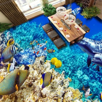 Underwater world marine tropical fish coral reef flooring painting bathroom decorative self-adhesive floor mural