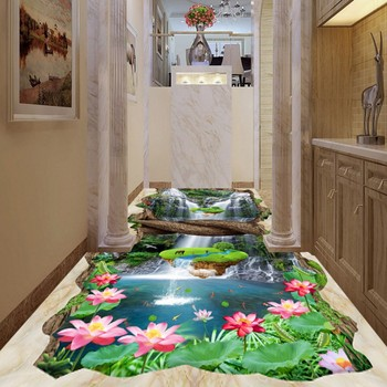 Valley waterfalls Lotus Carpia bathroom walkway 3d flooring thickened non-slip bathroom living room flooring mural