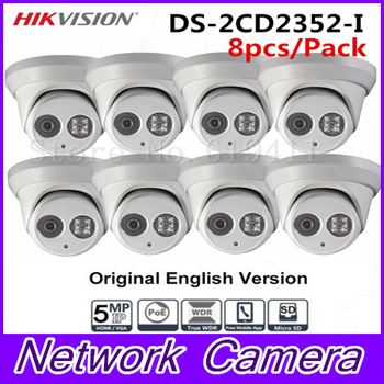 8Pcs 5MP WDR EXIR Turret Network Camera DS-2CD2352-I Dome IP Camera IP66 Weather-Proof Protection Outdoor Security Camera 30m IR