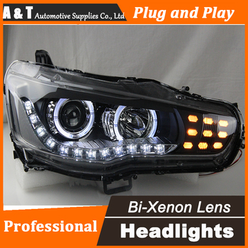 A&T Car Styling for Mitsubishi Lancer EX Headlights LED Headlight DRL Lens Lancer EX Double Beam H7 HID Xenon bi xenon lens