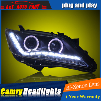 A&T Car Styling For Toyota Camry led headlight 2012-13 For Camry LED head lamp Angel eye led DRL front light Bi-Xenon Lens xenon