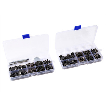100 Sets/Lot 15mm Black Snap Fasteners Copper Press Stud Button with Install Tool Kits
