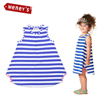 Meney's New 2017 Girls Beach Dresses Summer Casual Baby Striped Sleeveless Clothes Lycra Cute Kids Vest Dress Children Vestidos