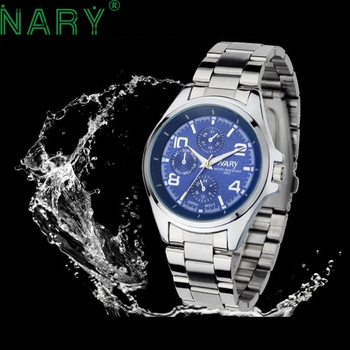 Essential NARY Wristwatch Bangle Bracelet Luxury Men Stainless Steel Classical Quartz Analog Wrist Watch Gift 17Tue27