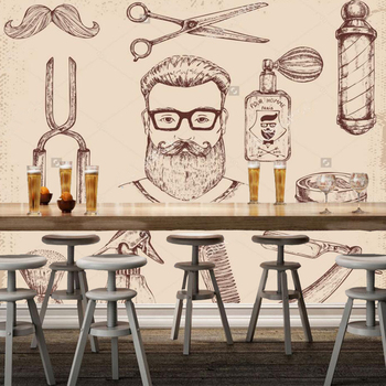Retro wallpaper, hand painted barber and barber tool murals for the barber shop sofa living room wall vinyl papel de parede