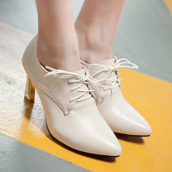 British college casual style sexy pointed toe pumps fashion lace-up purple pink apricot blue high-heeled women's shoes big size
