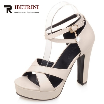 RIBETRINI Extra Size 31-43 Open Toe Rome Cross Tie Super High Heels Woman Shoes Buckle Crystal Platform Summer Sandals Women