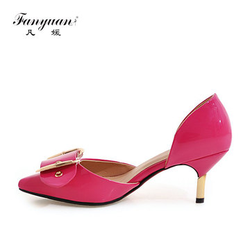 Fanyuan 2017 Women Thin Heels D'Orsay Patent Leather Working Pumps Sexy Pointed Toe Metal Decor Two Pieces Lady's Slip-on Dress