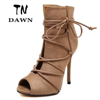 2016 Fashion Suede Summer Boots Sexy Peep Toe High Heels Ankle Strap Gladiator Pumps Lace Up Party Runway Shoes Women Stiletto
