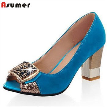 Asumer large size 32-43 women pumps peep toe comfortable new arrive rhinestone round toe thick heels summer shoes