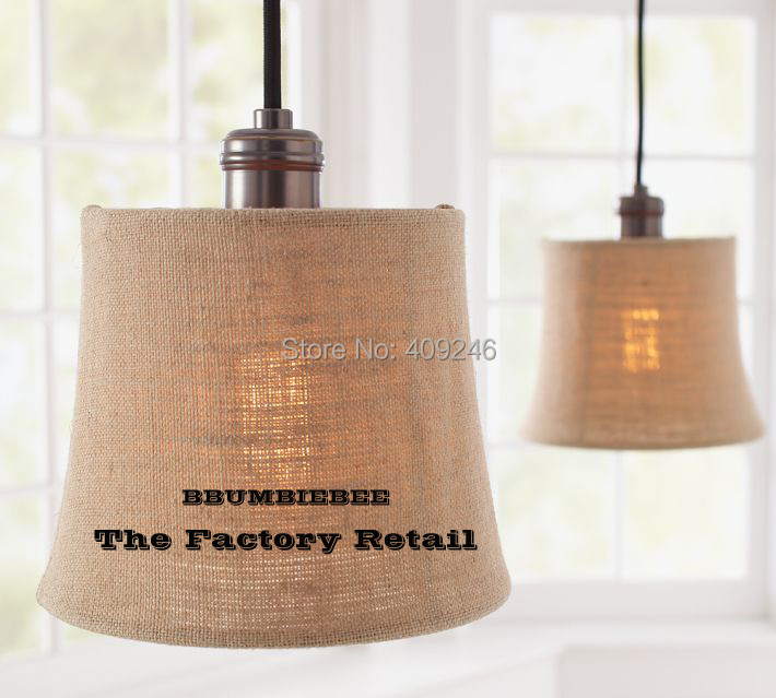 American-style Village Style Linen ART Round Copper Lamp Holder Pendant Lamp Cafe Bar Club Store Shop Bedside Hall
