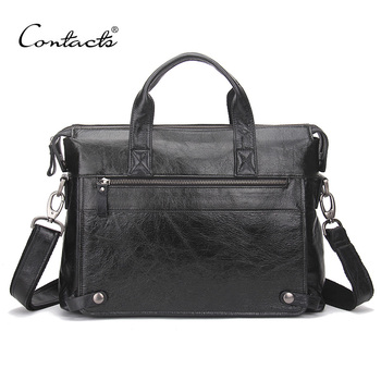 CONTACT'S Genuine Cow Leather Men Briefcase Business Male Bags Laptop Tote Bag Men's Crossbody Shoulder Bag Men's Travel Bags