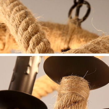 Retro Hemp Rope Pendant Lamp American Industrial Creative Night Light E14 Attic Living Room Lighting Decoration