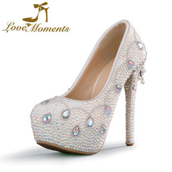 Love Moments shoes woman crystal rhinestone shoes platform wedding shoes bride high heels pumps evening dress party women shoes