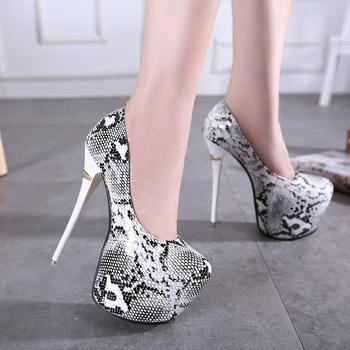 Serpentine ultra-high heels with fine shoes Shallow mouth waterproof women's patent leather shoes
