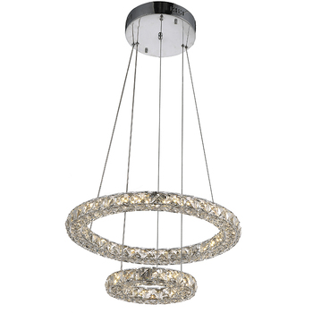 Modern Crystal Pendant Light LED Lighting Hanging Lamps Fixtures with 27W 2Ring D2040CM CE FCC ROHS