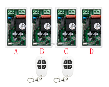 Most simple wiring New AC220V 1CH 1Channe RF wireless remote control switch System 2X Transmitter + 4X Receiver,315/433 MHZ