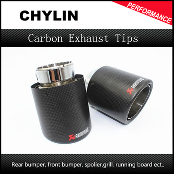 Inlet 57mm Outlet 90mm Akrapovic Dry Carbon Fiber Exhaust Tip Universal 304 Stainless Steel End Pipe Tail Pipe