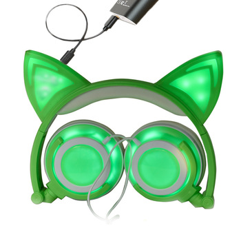 New Upgraded Cat Ear Headphones LED Ear Headphone Wired Cat Earphone Flashing Glowing Headset Gaming Headset For PC Sumsung