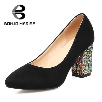 BONJOMARISA Glitter Women Pumps Sexy Chunky High Heel Pointed Toe Party Wedding Office Ladies Shoes 2017 Woman Flock Footwear