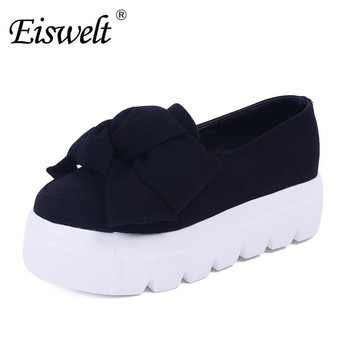 Eswelt 2017 Autumn Spring Women Flats Fashion Creepers Shoes Bow Lady Flats Loafers Ladies Slip On Platform 5CM Shoes#DZW81