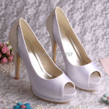 New Model Platform Heels High Women's Color Blocking Crystal Shoes White Peep Toe