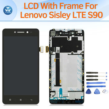 LCD screen for Lenovo Sisley LTE S90 LCD display touch panel digitizer frame full assembly replacement pantalla black white