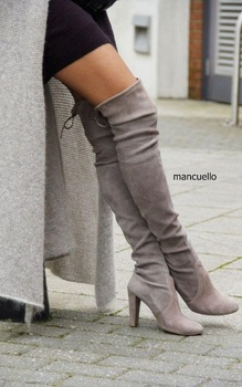 Concise Style Women Cozy Gray Suede Chunky Heel Over Knee Boots Elegant Round Toe Lace Up Long Boots Women Slip-On Shoes