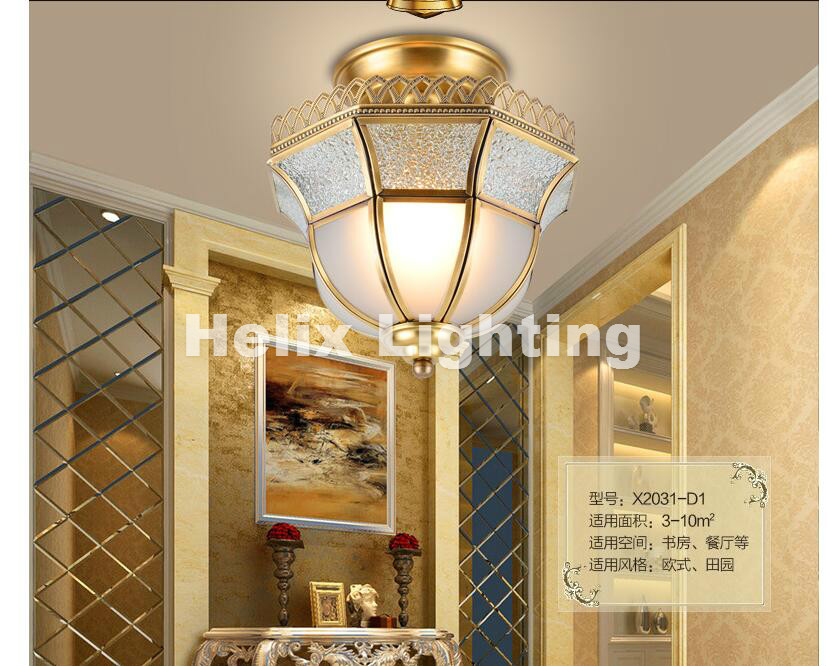 D24cm Bronze American Countryside Style Wrought Iron LED AC Ceiling Light Cloth Art Asile Lamp Bedroom Decoration Lamp