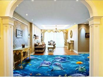 3d flooring wallpaper custom photo living room mural blue sea world dolphin 3d photo painting PVC self-adhesive floor wallpaper