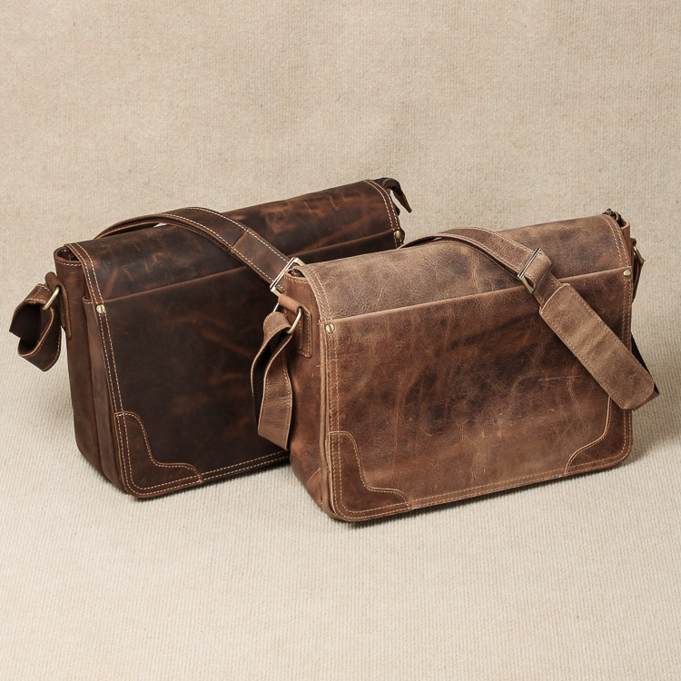 Vintage Genuine Crazy Horse Leather Brown Leather Weekend Bag Shoulder Men's Messenger Bag laptops