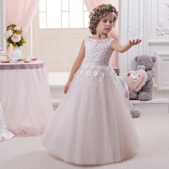 Hot Vestido De Comunion White Formal Appliques Ball Gown O-Neck Regular Sleeveless 2016 Pageant Dresses Little Girl