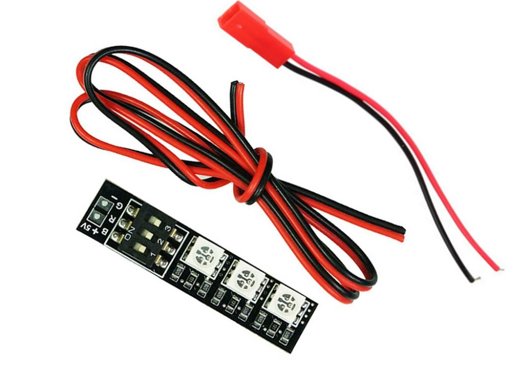2x RGB 5050 LED Lights Board 7 Color 5V w/DIP Switch for QAV250 F450 Quad