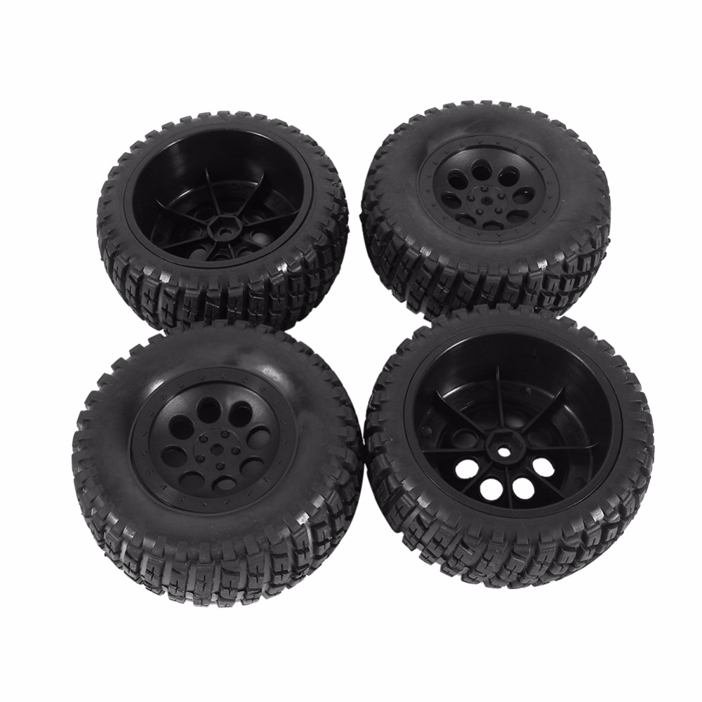 New 4Pcs Black Rubber Tires & Wheel Rims For 1:10 HPI Short Course Off Road Car Diameter 110mm RC Car Spare Part D3